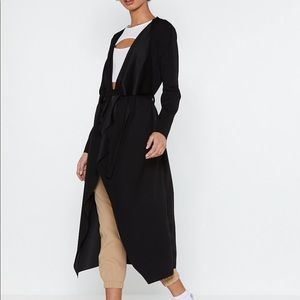 {Nasty Gal} Black Draped Lightweight Trenchcoat